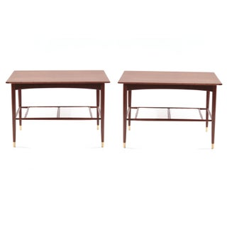 Dux Teak Brass & Leather Side Tables - Pair