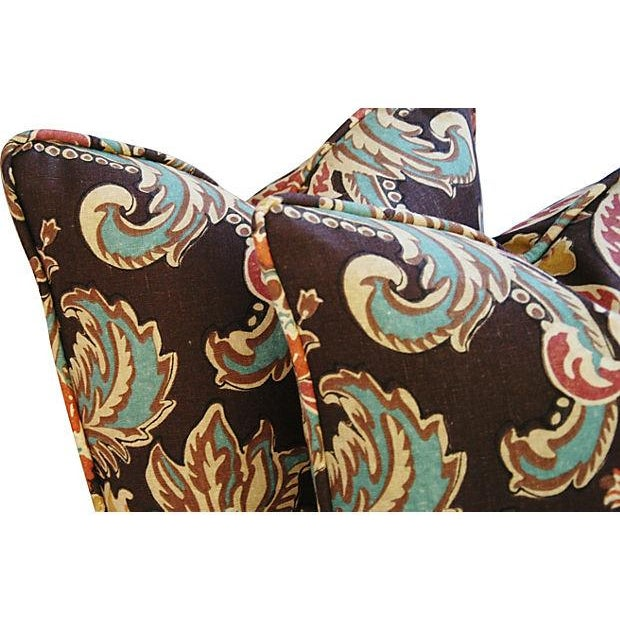 Designer Kravet Lutron Espresso Pillows - A Pair - Image 3 of 6