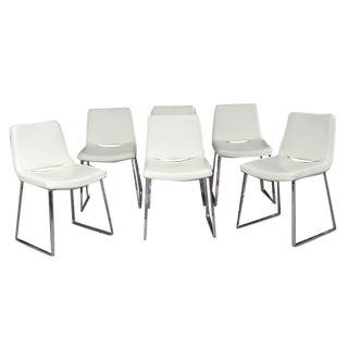 Stainless & Leather Chairs - Set of 6