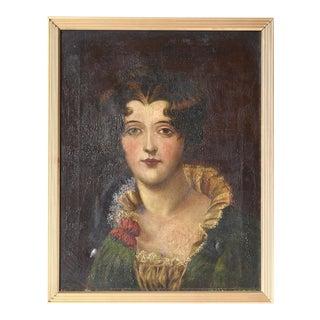 Antique English Woman Portrait Oil Painting