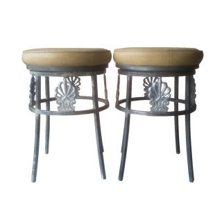 Hollywood Regency Ostrich Leather Bar Stools- Pair