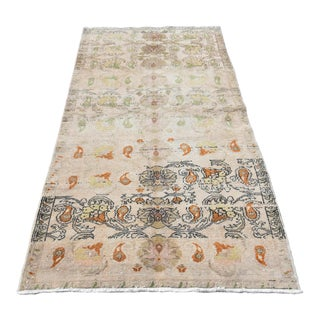 Vintage Turkish Muted Leaves Handmade Rug - 3′7″ × 7′1″