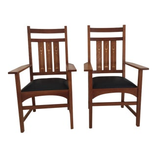 Stickley Inlaid Cherry Dining Chairs - A Pair