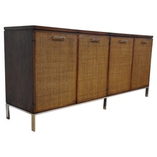 Walnut, Chrome, and Cane Credenza