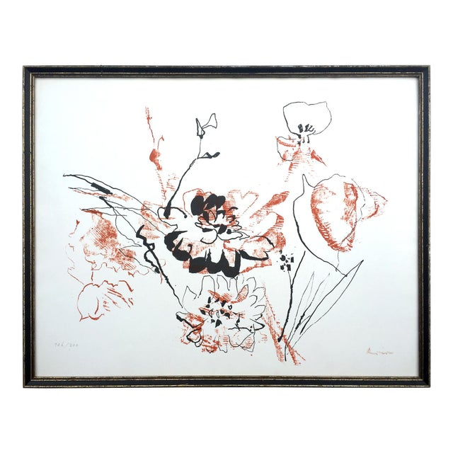 Image of Circa 1970 Abstract Expressionist Floral Screenprint