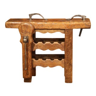 19th Century Rustic French Carpenter Press Table With Wine Rack