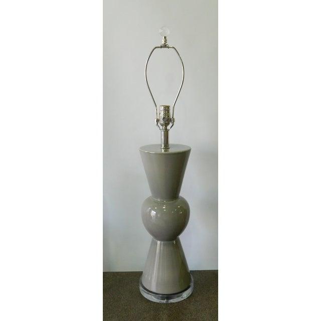 Modern Gray Porcelain Table Lamp on Acrylic Base - Image 7 of 7