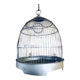 Vintage Brass Metal Dome Hanging Bird Cage