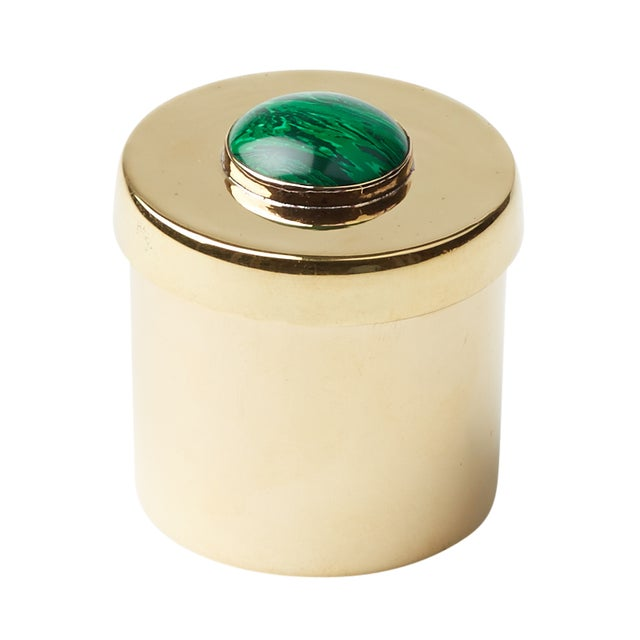 Small Round Gem Box- Malachite - Image 1 of 2