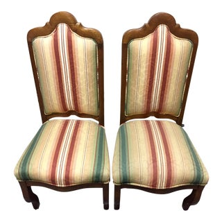 French Striped Upholstered Chairs - A Pair