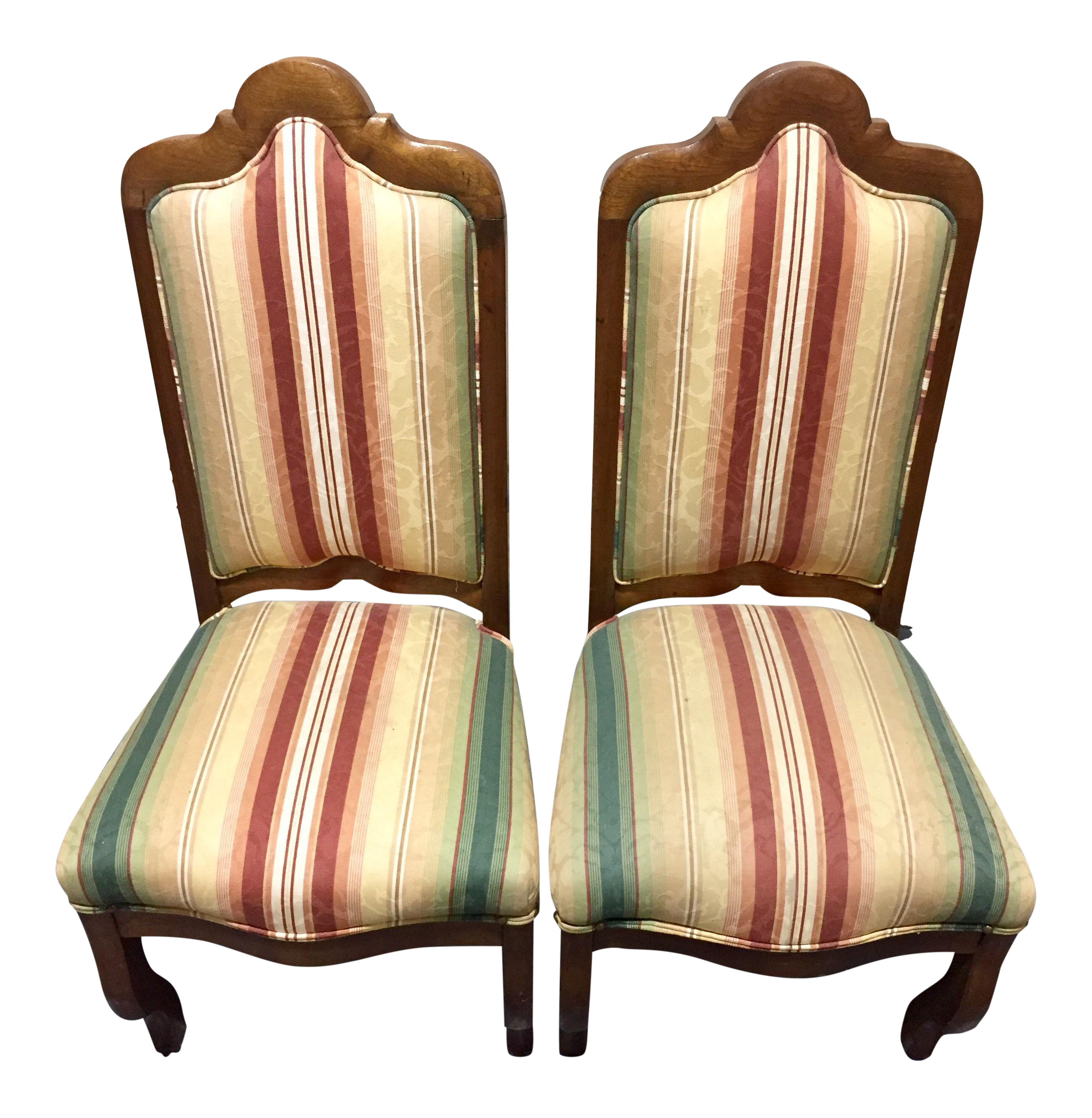 French Striped Upholstered Chairs   A Pair
