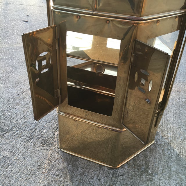 Brass Enclosed Table & Storage Stand - Image 3 of 6