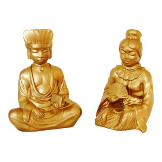 Mid-Century Gold Asian Man & Woman Figures - A Pair