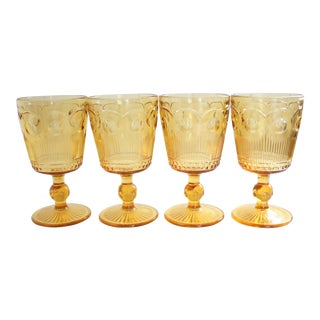 Vintage Amber Glass Goblets - Set of 4