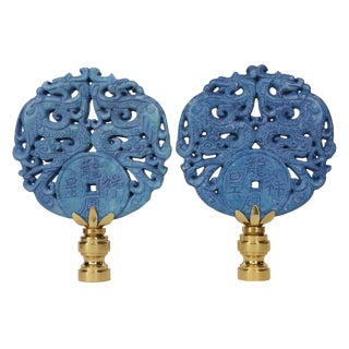 Cobalt Blue Asian Dragon Lamp Finials - Pair