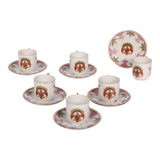 Chinese Export-Style Demitasse Cups & Saucers - Set of 6
