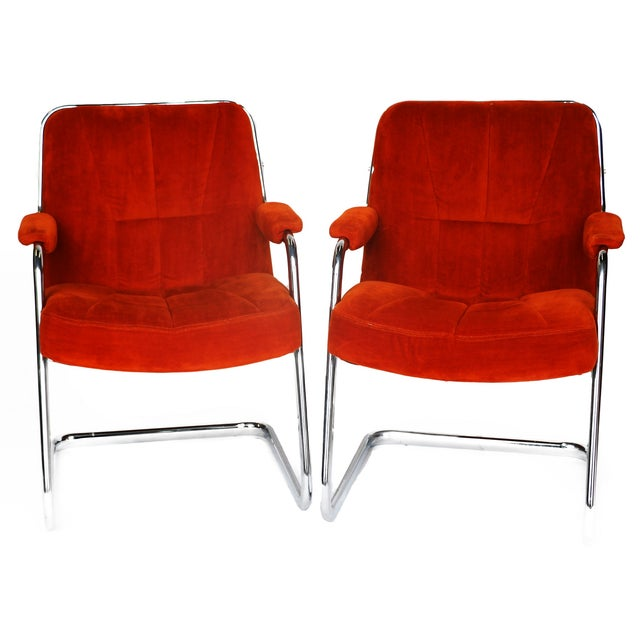 Pair Chrome Milo Baughman-Style Chairs - Image 1 of 10