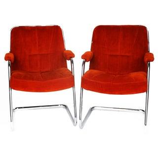 Pair Chrome Milo Baughman-Style Chairs