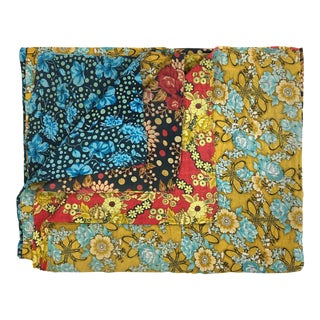 Blue and Yellow Flowers - Vintage Kantha Quilt