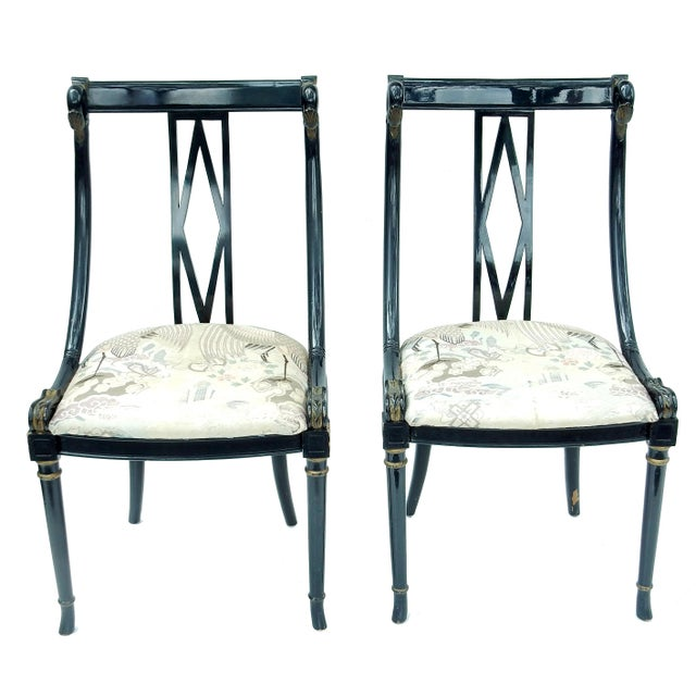 Hollywood Regency Black & Gold Swan Chairs - A Pair - Image 5 of 10