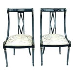 Image of Hollywood Regency Black & Gold Swan Chairs - A Pair
