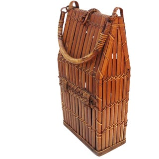 Wicker Basket With Handle / Wine Bottle Carrier