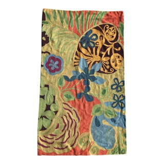 "Orange Green and Blue Embroidered Rug - 2'11"" x 4'11"""