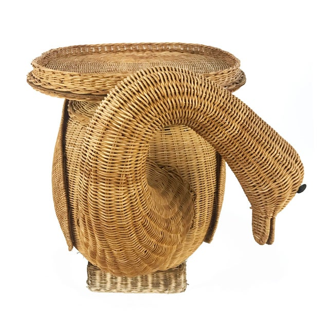 Vintage Woven Wicker Rattan Swan Goose Side Table Plant Stand - Image 3 of 6