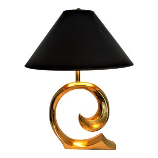 Pierre Cardin Solid Brass Logo Table Lamp Mid Century Modern MCM Vintage