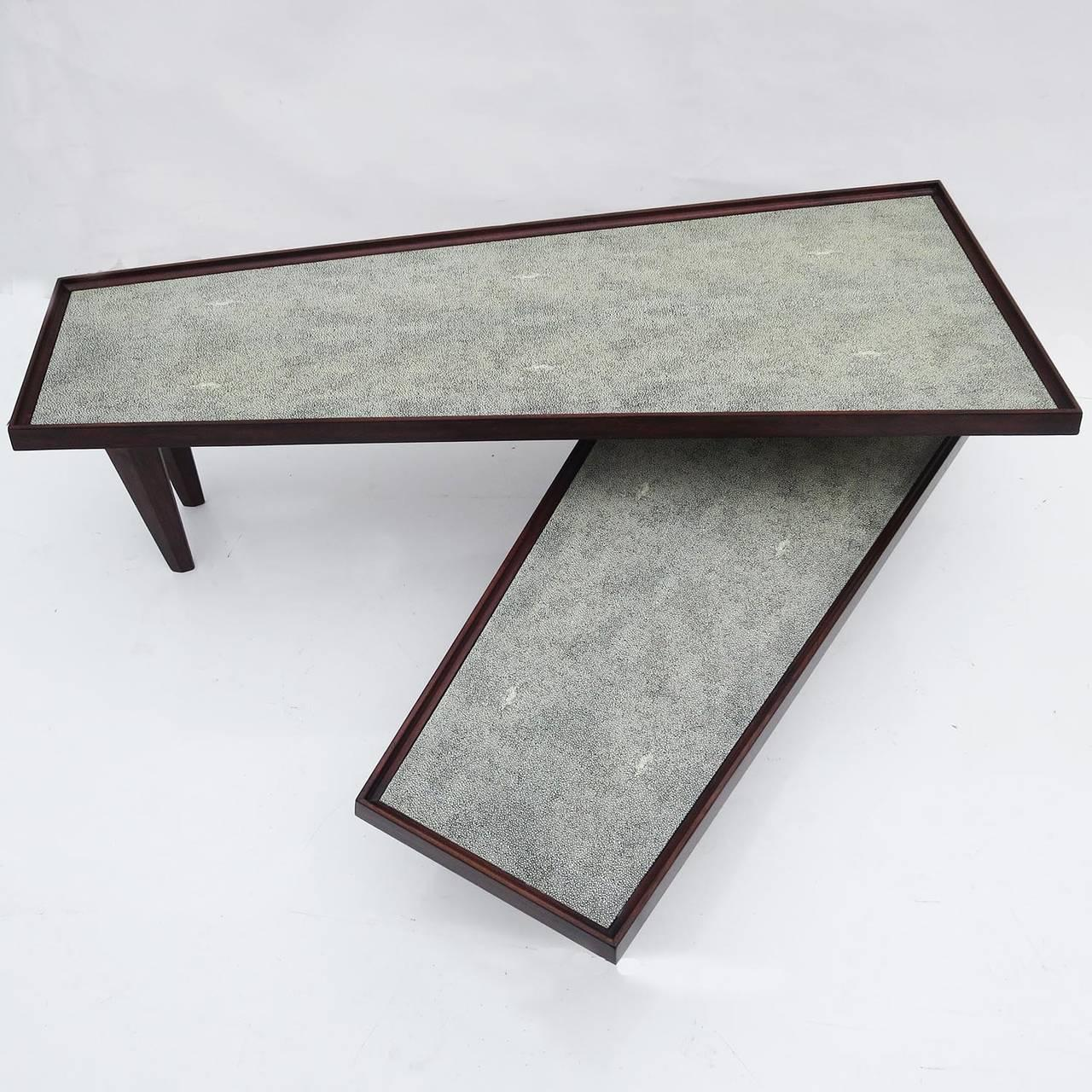 Modern Coffee Table Swing Out Level Faux Shagreen   Image 2 Of 7