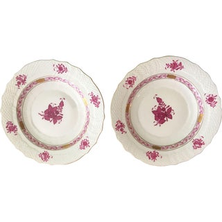 Herend Chinese Raspberry Salad Plates - A Pair