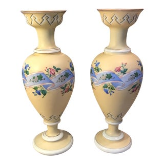 Yellow Floral Porcelain Vases - A Pair