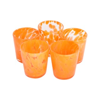 Hand Blown Orange Glasses - Set of 5