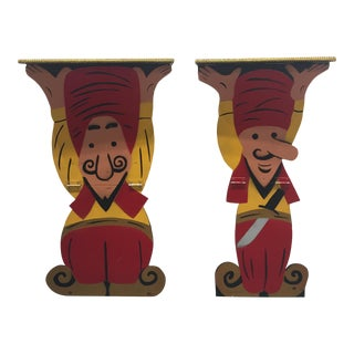 Magician Shaped & Painted Side Tables - A Pair