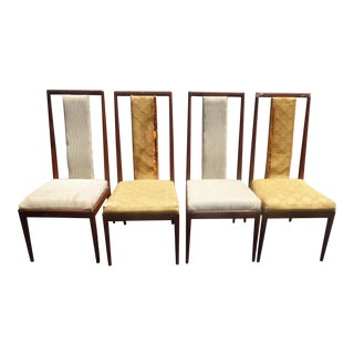 Vintage Mid-Century Modern Walnut Wood Dining Chairs - Set of 4