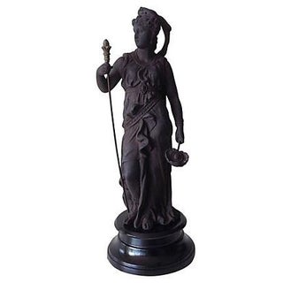 Cast Patented Metal Statue of Athena