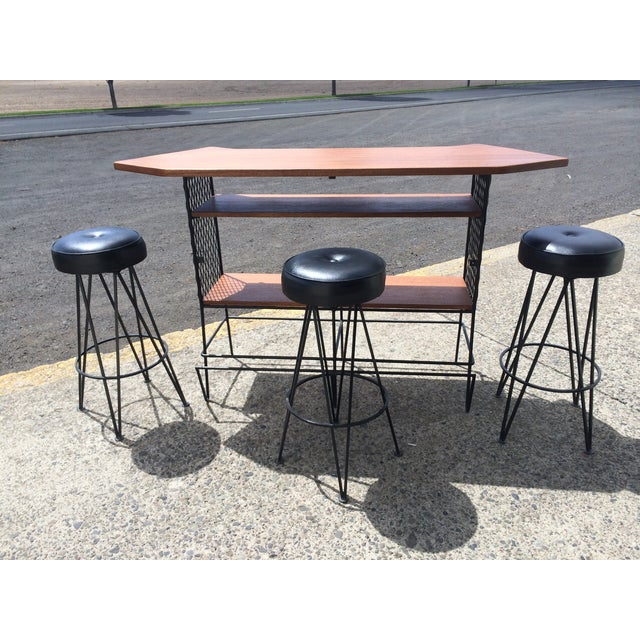 Frederick Weinberg-Attributed Bar & Bar Stools - Image 3 of 7