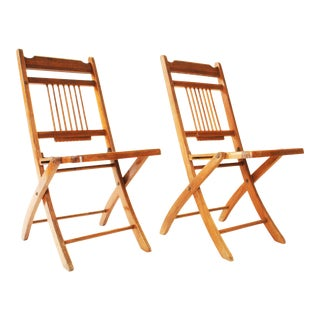 Vintage Rustic Wood Folding Chairs - A Pair