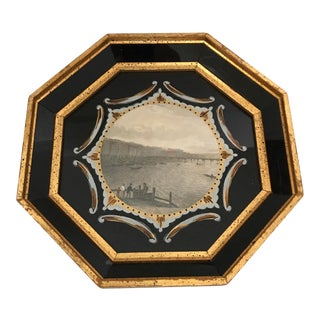 Reverse Painted Glass & Giltwood Framed Print