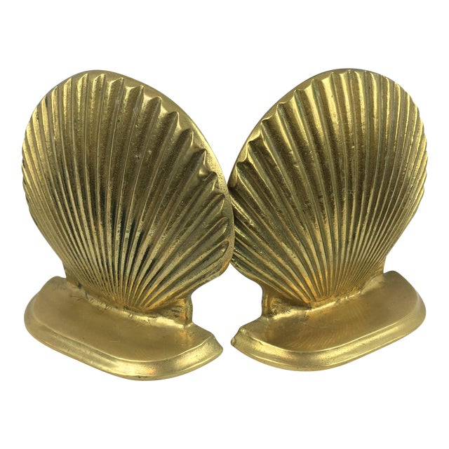 Mid-Century Brass Shell Bookends - A Pair - Image 1 of 7