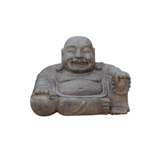 Chinese Gray Stone Carved Small Sitting Happy Laughing Buddha Statue