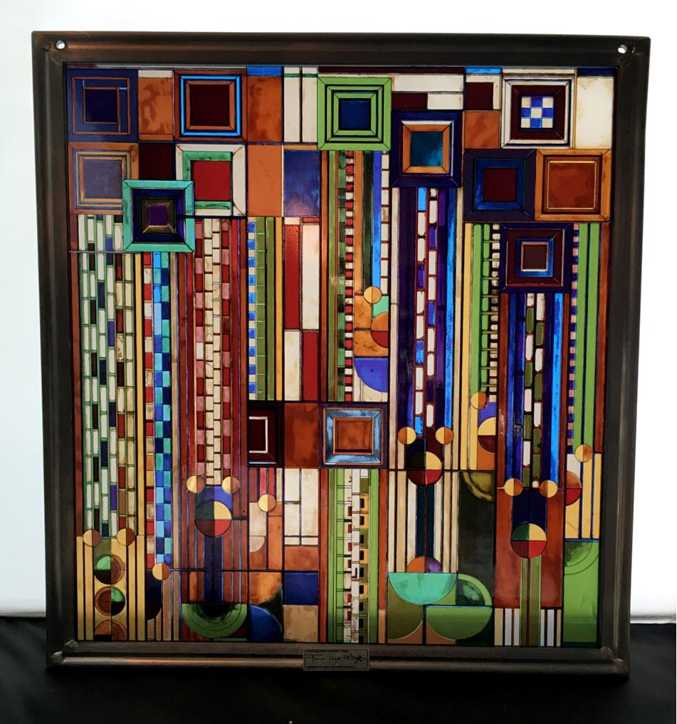 vintage frank lloyd wright stained glass window art image 9 of 9