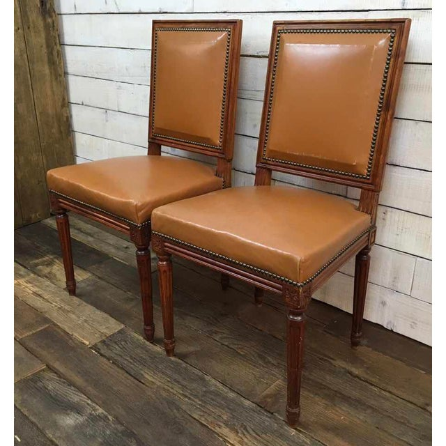 Antique Louis XVI Leather Upholstered French Country Chairs - A Pair - Image 3 of 11