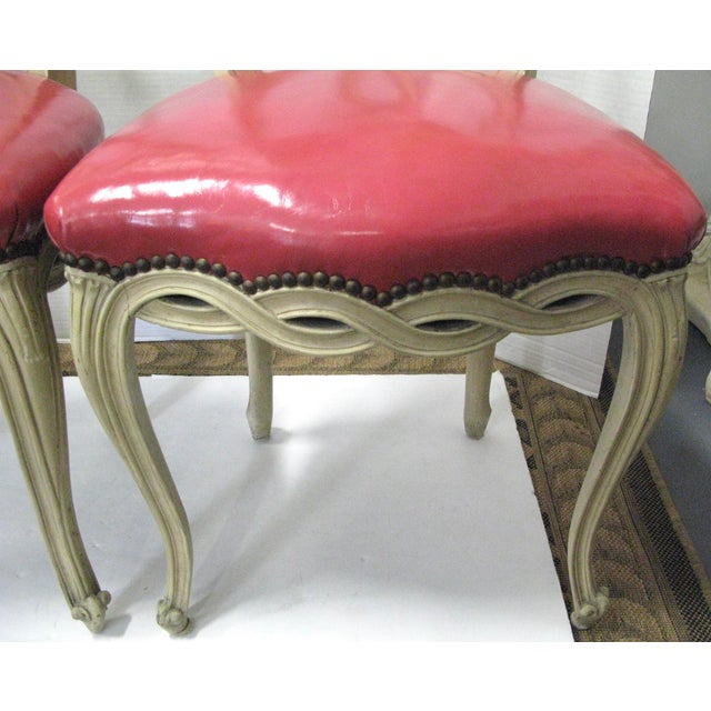 Italian Painted & Pink Leather Chairs - A Pair - Image 6 of 10