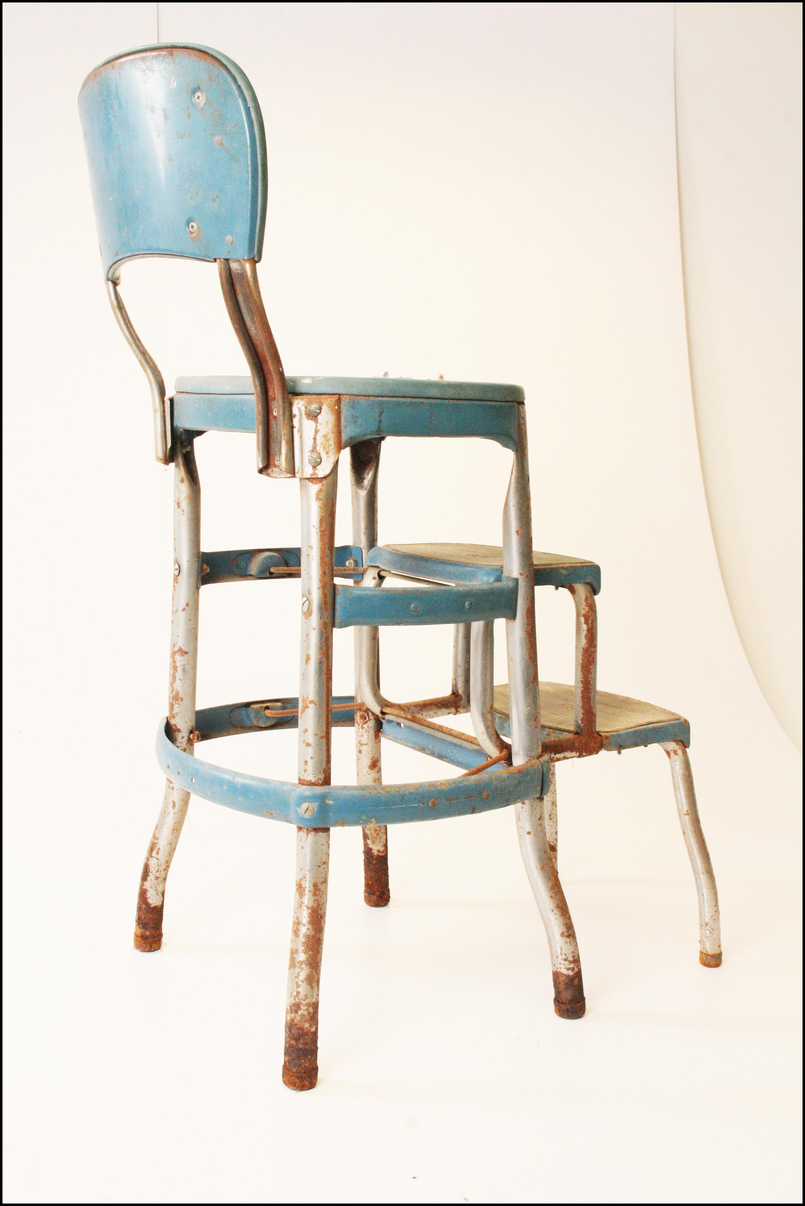 Vintage Mid Century Cosco Blue Kitchen Step Stool Chairish