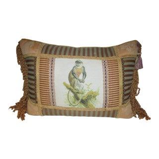 Multiple Fabric & Needlepoint Monkey Fringed Pillow