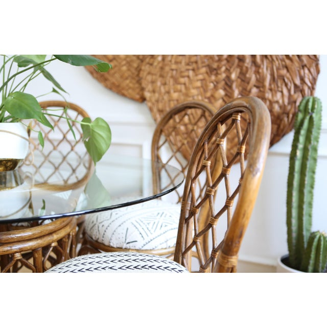 Bamboo Dining Table with Mudcloth Chairs - Set of 5 - Image 9 of 11