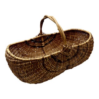 Antique Americana Wicker and Twig Buttocks Basket