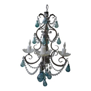 Aqua Hand Blown Glass Drop Chandelier