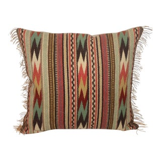 Extraordinary Early Navajo Weaving Fringed Pillow